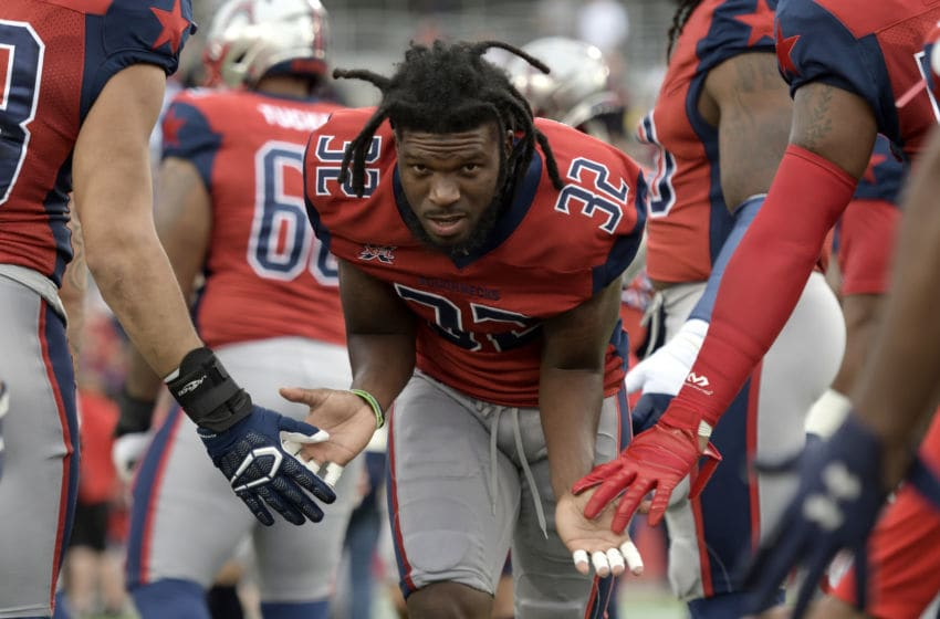 HOUSTON, TX - FEBRUARY 16: Deatrick Nichols #32 of the Houston Roughnecks runs on to the field before the game against the St. Louis BattleHawks at TDECU Stadium on February 16, 2020 in Houston, Texas. (Photo by Thomas Campbell/XFL via Getty Images)