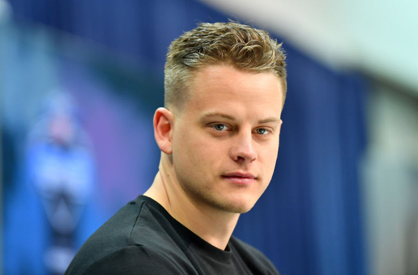 INDIANAPOLIS, INDIANA - FEBRUARY 25: Joe Burrow #QB02 of LSU interviews during the first day of the NFL Scouting Combine at Lucas Oil Stadium on February 25, 2020 in Indianapolis, Indiana. (Photo by Alika Jenner/Getty Images)