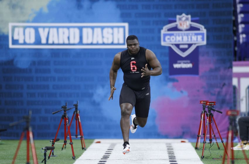 INDIANAPOLIS, IN - FEBRUARY 29: Defensive lineman Marlon Davidson of Auburn runs the 40-yard dash during the NFL Combine at Lucas Oil Stadium on February 29, 2020 in Indianapolis, Indiana. (Photo by Joe Robbins/Getty Images)