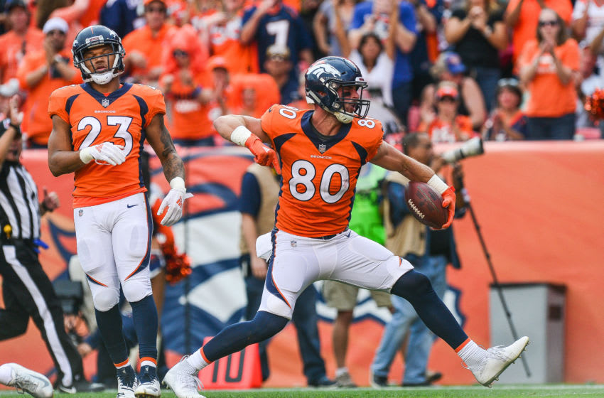 DENVER, CO - SEPTEMBER 9: Tight end Jake Butt #80 of the Denver Broncos celebrates after a first down catch against the Seattle Seahawks at Broncos Stadium at Mile High on September 9, 2018 in Denver, Colorado. (Photo by Dustin Bradford/Getty Images)