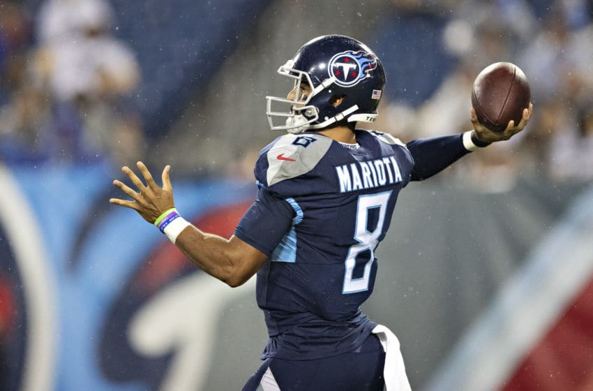 NASHVILLE, TN - AUGUST 17: Marcus Mariota #8 of the Tennessee Titans throws a pass against the Pittsburgh Steelers during week three of preseason at Nissan Stadium on August 25, 2019 in Nashville, Tennessee. (Photo by Wesley Hitt/Getty Images)