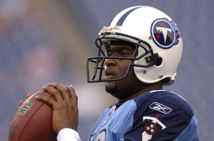 Vince Young #10 before the Atlanta Falcons 20-6 defeat of the Tennessee Titans in a preseason game played at The Coliseum in Nashville, Tennessee on August 26, 2006. (Photo by Joe Murphy/NFLPhotoLibrary)