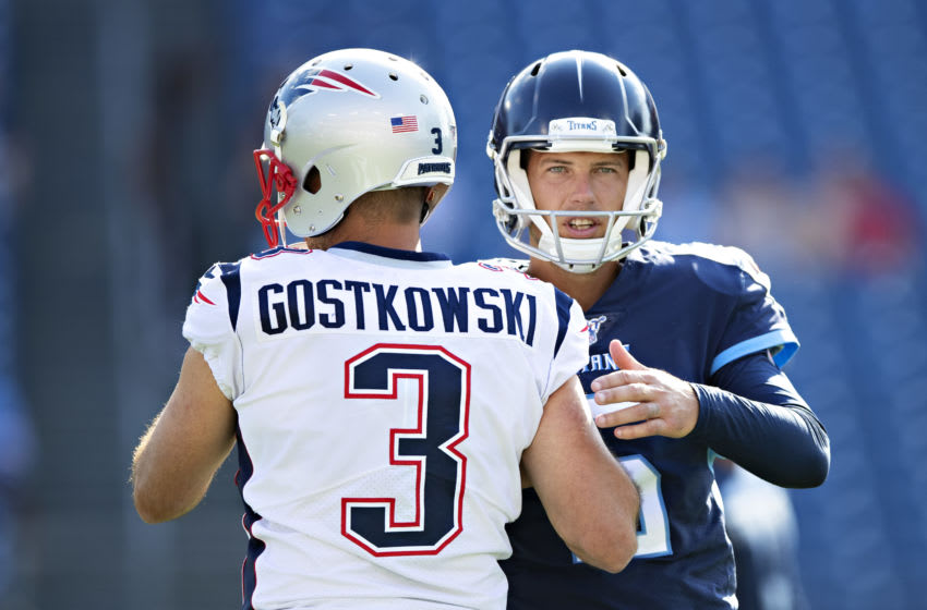 NASHVILLE, TN - AUGUST 17: Stephen Gostkowski #3 of the New England Patriots greets Brett Kern #6 of the Tennessee Titans before the game during week two of the preseason at Nissan Stadium on August 17, 2019 in Nashville, Tennessee. The Patriots defeated the Titans 22-17. (Photo by Wesley Hitt/Getty Images)