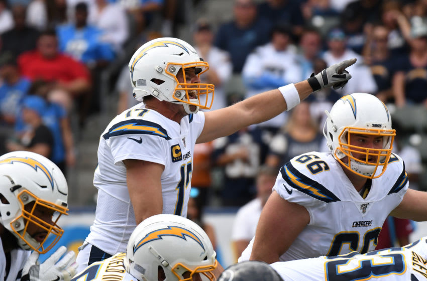 CARSON, CALIFORNIA - SEPTEMBER 22: Quarterback Philip Rivers #17 of the Los Angeles Chargers yells to teammates in the game against the Houston Texans at Dignity Health Sports Park on September 22, 2019 in Carson, California. (Photo by Meg Oliphant/Getty Images)