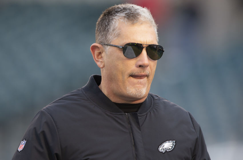 PHILADELPHIA, PA - DECEMBER 22: Defensive coordinator Jim Schwartz of the Philadelphia Eagles looks on prior to the game against the Dallas Cowboys at Lincoln Financial Field on December 22, 2019 in Philadelphia, Pennsylvania. (Photo by Mitchell Leff/Getty Images)