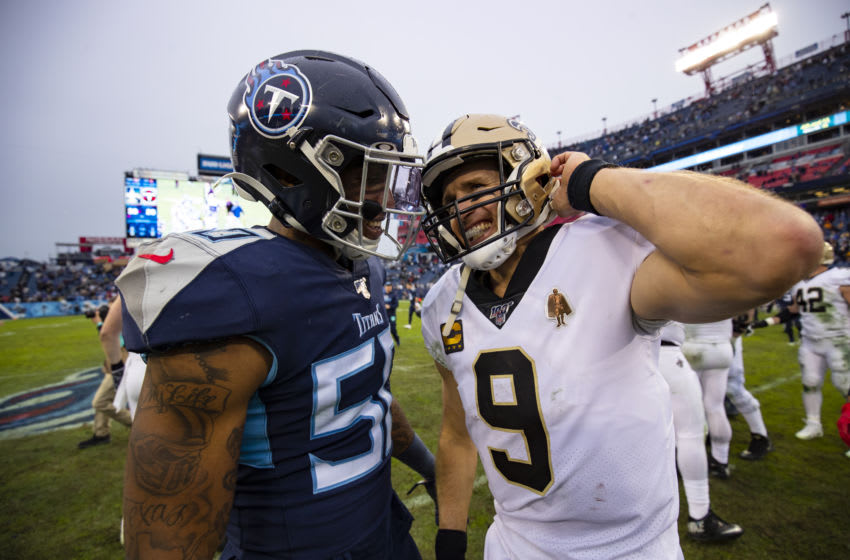 NASHVILLE, TN - DECEMBER 22: Derick Roberson #50 of the Tennessee Titans and Drew Brees #9 of the New Orleans Saints talk after the game at Nissan Stadium on December 22, 2019 in Nashville, Tennessee. New Orleans defeats Tennessee 38-28. (Photo by Brett Carlsen/Getty Images)