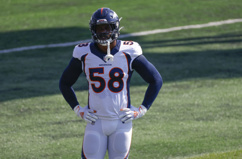 ENGLEWOOD, CO - AUGUST 18: Linebacker Von Miller #58 of the Denver Broncos catches his breath on the field during a training session at UCHealth Training Center on August 18, 2020 in Englewood, Colorado. (Photo by Justin Edmonds/Getty Images)