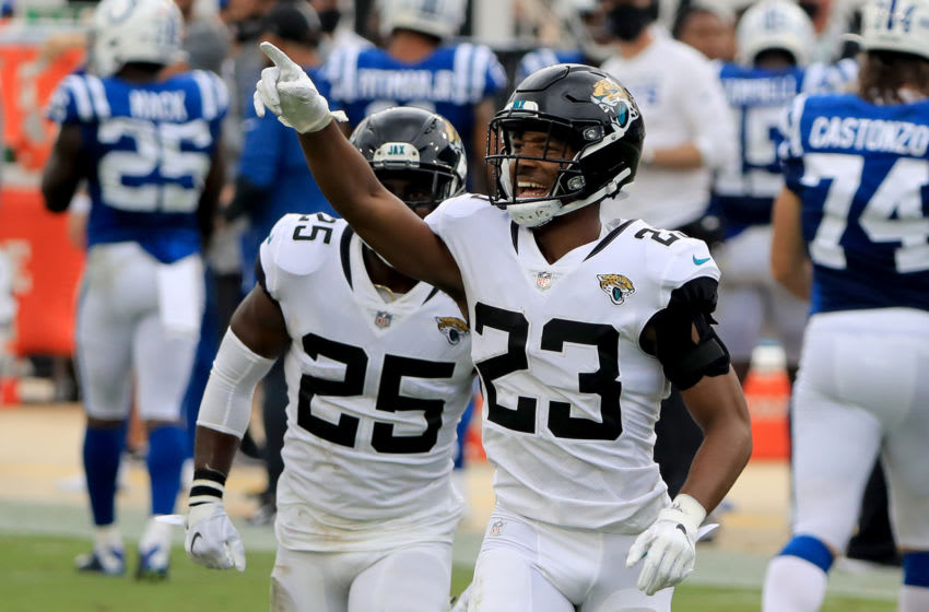 JACKSONVILLE, FLORIDA - SEPTEMBER 13: CJ Henderson #23 of the Jacksonville Jaguars celebrates after making an interception during the game against the Indianapolis Colts at TIAA Bank Field on September 13, 2020 in Jacksonville, Florida. (Photo by Sam Greenwood/Getty Images)