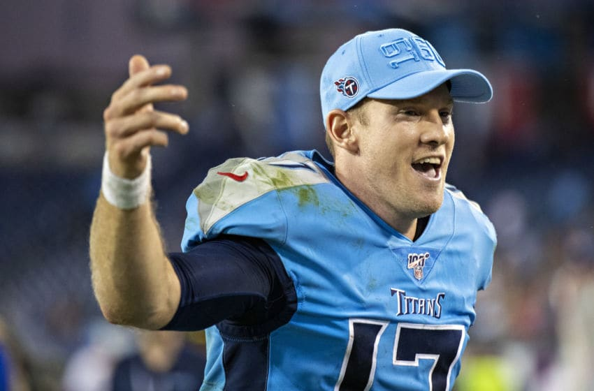 NASHVILLE, TN - OCTOBER 20: Ryan Tannehill #17 of the Tennessee Titans jogs off the field with a big smile after a game against the Los Angeles Chargers at Nissan Stadium on October 20, 2019 in Nashville, Tennessee. The Titans defeated the Chargers 23-20. (Photo by Wesley Hitt/Getty Images)