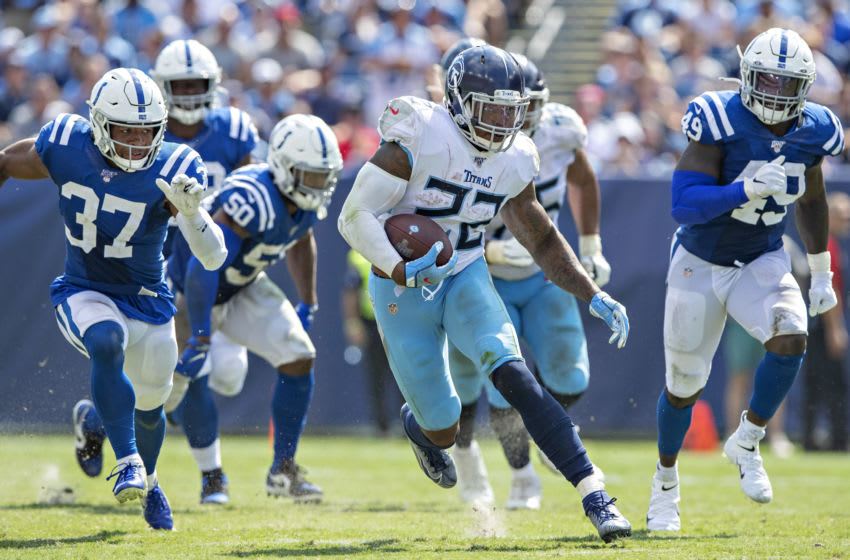 NASHVILLE, TN - SEPTEMBER 15: Derrick Henry #22 of the Tennessee Titans runs the ball during a game against the Indianapolis Colts at Nissan Stadium on September 15, 2019 in Nashville,Tennessee. The Colts defeated the Titans 19-17. (Photo by Wesley Hitt/Getty Images)