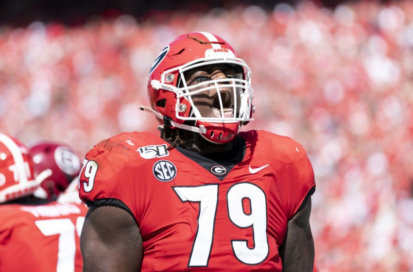 ATHENS, GA - OCTOBER 12: Isaiah Wilson #79 of the Georgia Bulldogs celebrates after the Swift touchdown during a game between University of South Carolina Gamecocks and University of Georgia Bulldogs at Sanford Stadium on October 12, 2019 in Athens, Georgia. (Photo by Steve Limentani/ISI Photos/Getty Images).