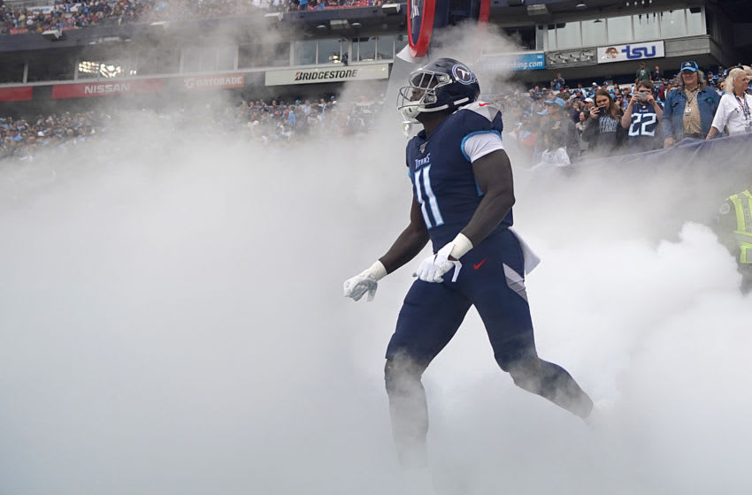 NASHVILLE, TENNESSEE - OCTOBER 27: A.J. Brown #11 of the Tennessee Titans runs onto the field before the NFL football game against the Tampa Bay Buccaneers at Nissan Stadium on October 27, 2019 in Nashville, Tennessee. (Photo by Bryan Woolston/Getty Images)