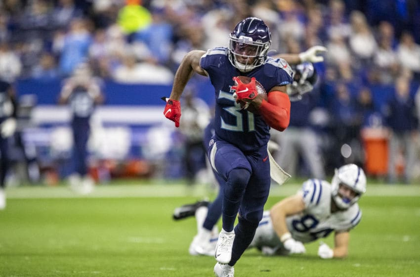 INDIANAPOLIS, IN - DECEMBER 01: Kevin Byard #31 of the Tennessee Titans intercepts a pass during the third quarter of the game against the Indianapolis Colts at Lucas Oil Stadium on December 1, 2019 in Indianapolis, Indiana. (Photo by Bobby Ellis/Getty Images)