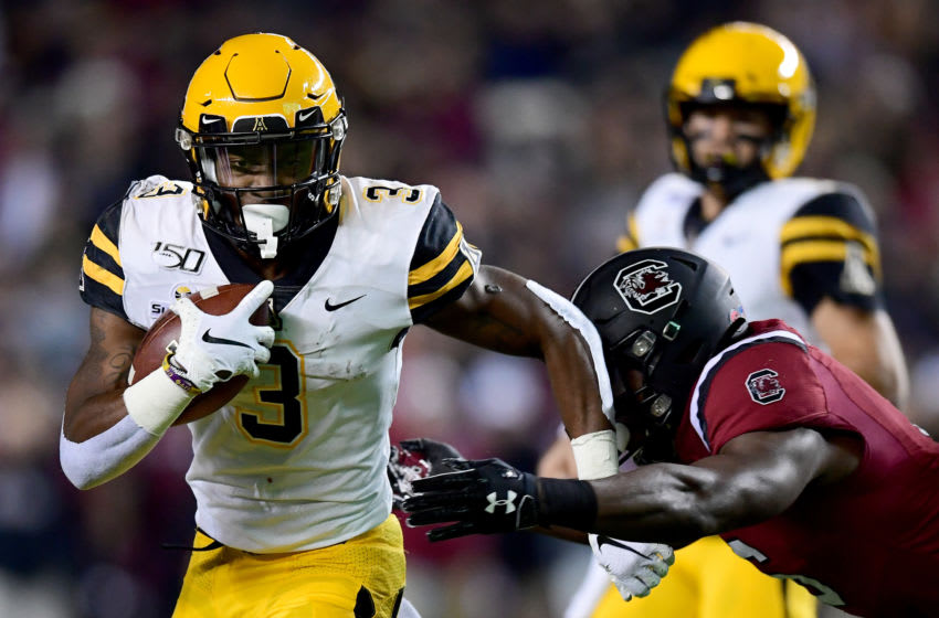 COLUMBIA, SOUTH CAROLINA - NOVEMBER 09: Darrynton Evans #3 of the Appalachian State Mountaineers runs with the ball in the first quarter during their game against the South Carolina Gamecocks at Williams-Brice Stadium on November 09, 2019 in Columbia, South Carolina. (Photo by Jacob Kupferman/Getty Images)