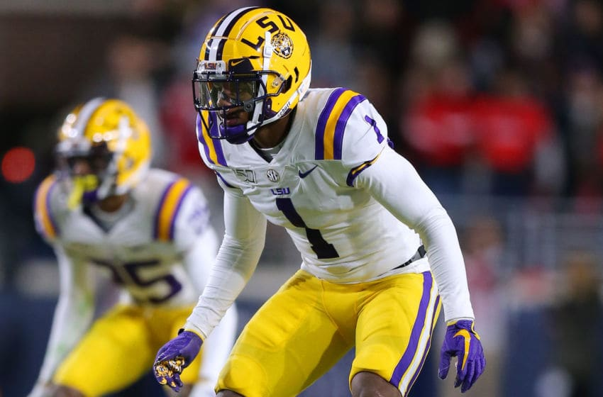 OXFORD, MISSISSIPPI - NOVEMBER 16: Kristian Fulton #1 of the LSU Tigers in action during a game against the Mississippi Rebels at Vaught-Hemingway Stadium on November 16, 2019 in Oxford, Mississippi. (Photo by Jonathan Bachman/Getty Images)