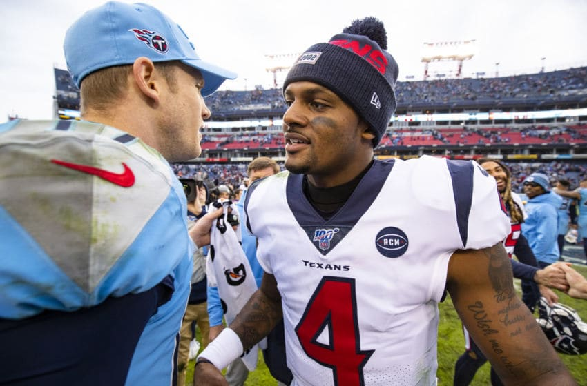 NASHVILLE, TN - DECEMBER 15: Ryan Tannehill #17 of the Tennessee Titans shakes hands with Deshaun Watson #4 of the Houston Texans after the game at Nissan Stadium on December 15, 2019 in Nashville, Tennessee. Houston defeats Tennessee 24-21. (Photo by Brett Carlsen/Getty Images)