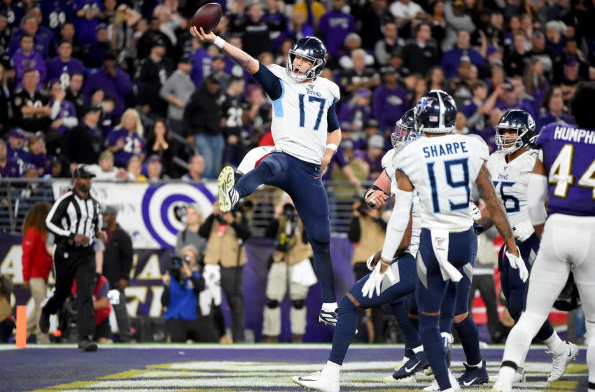 BALTIMORE, MARYLAND - JANUARY 11: Ryan Tannehill #17 of the Tennessee Titans celebrates after scoring a touchdown against the Baltimore Ravens during the AFC Divisional Playoff game at M&T Bank Stadium on January 11, 2020 in Baltimore, Maryland. (Photo by Will Newton/Getty Images)