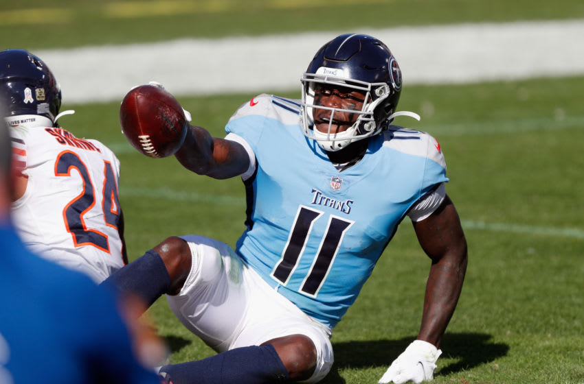 NASHVILLE, TENNESSEE - NOVEMBER 08: A.J. Brown #11 of the Tennessee Titans celebrates his first half touchdown against the Chicago Bears at Nissan Stadium on November 08, 2020 in Nashville, Tennessee. (Photo by Wesley Hitt/Getty Images)