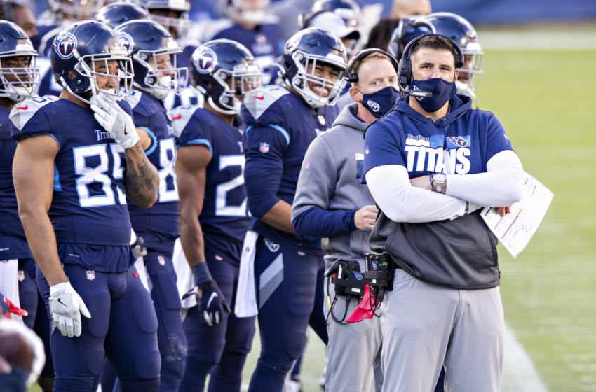 NASHVILLE, TENNESSEE - Head Coach Mike Vrabel of the Tennessee Titans on the sidelines during a game against the Detroit Lions at Nissan Stadium on December 20, 2020 in Nashville, Tennessee. The Titans defeated the Lions 46-25. (Photo by Wesley Hitt/Getty Images)