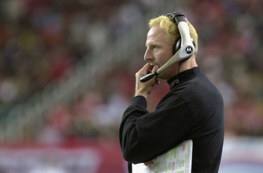 ATLANTA - NOVEMBER 17: Head Coach Jim Haslett of the New Orleans Saints watches from the sidelines during the NFL game against the Atlanta Falcons at the Georgia Dome on November 17, 2002 in Atlanta, Georgia. The Falcons defeated the Saints 24-17. (Photo by Erik S. Lesser/Getty Images)
