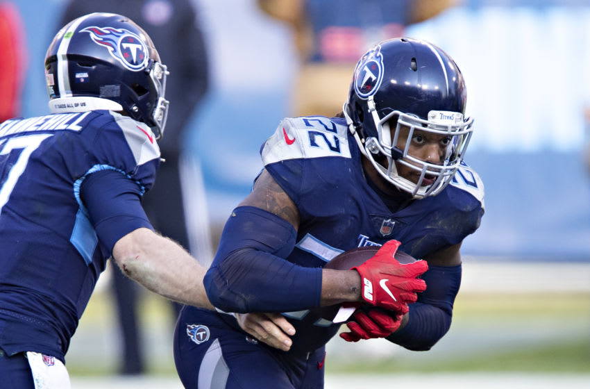 Ryan Tannehill #17, Derrick Henry #22, Tennessee Titans (Photo by Wesley Hitt/Getty Images)