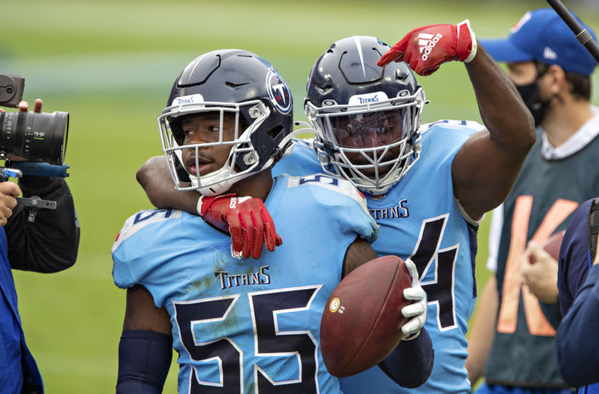 Rashaan Evans #54, Jayon Brown #55, Tennessee Titans (Photo by Wesley Hitt/Getty Images)
