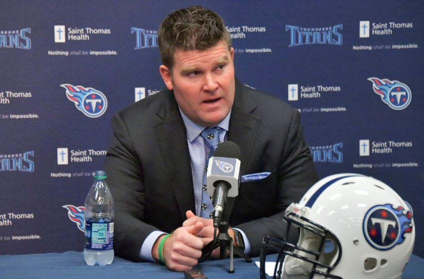Jan 22, 2018; Nashville, TN, USA; Tennessee Titans general manager Jon Robinson speaks to the media during the press conference announcing new Titans head coach Mike Vrabel at Saint Thomas Sports Park. Mandatory Credit: Jim Brown-USA TODAY Sports