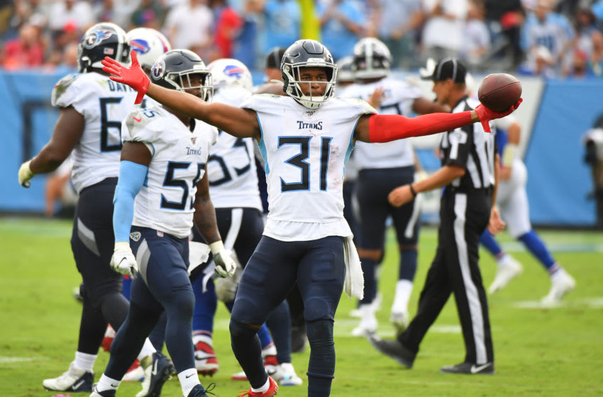 Oct 6, 2019; Nashville, TN, USA; Tennessee Titans free safety Kevin Byard (31) celebrates after an interception during the second half against the Buffalo Bills at Nissan Stadium. Mandatory Credit: Christopher Hanewinckel-USA TODAY Sports