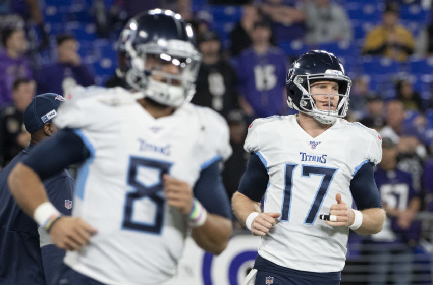 Jan 11, 2020; Baltimore, Maryland, USA; Tennessee Titans quarterback Ryan Tannehill (17) and quarterback Marcus Mariota (8) warm up before the game against the Baltimore Ravens in a AFC Divisional Round playoff football game at M&T Bank Stadium. Mandatory Credit: Tommy Gilligan-USA TODAY Sports