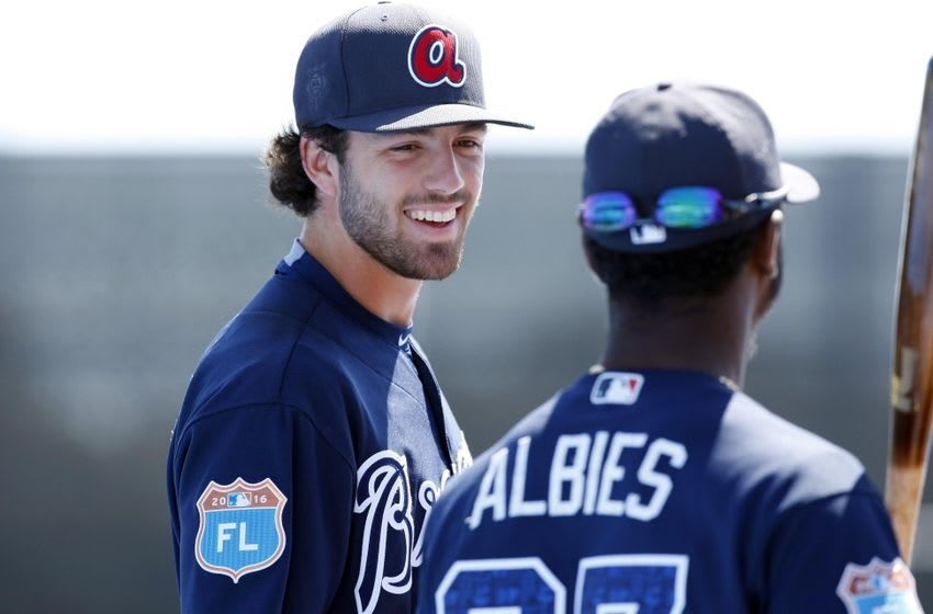 Mar 7, 2016; Dunedin, FL, USA; Atlanta Braves shortstop Dansby Swanson (80) talks with shortstop Ozzie Albies (87) prior to the game against the Toronto Blue Jays at Florida Auto Exchange Park. Mandatory Credit: Kim Klement-USA TODAY Sports