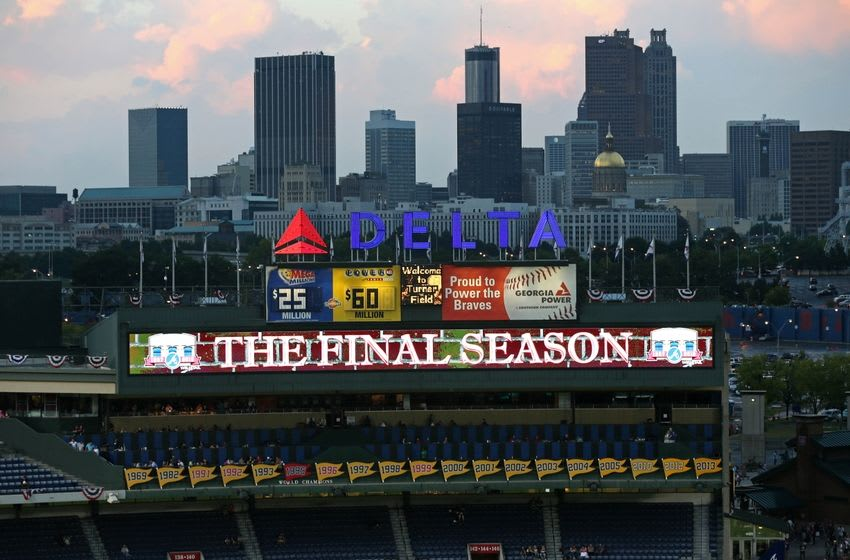 Sep 27, 2016; Atlanta, GA, USA; The Atlanta skyline is shown in the background before the start of the game between the Atlanta Braves and the Philadelphia Phillies at Turner Field. This is one of the last remaining games during the final season at Turner Field. Mandatory Credit: Jason Getz-USA TODAY Sports