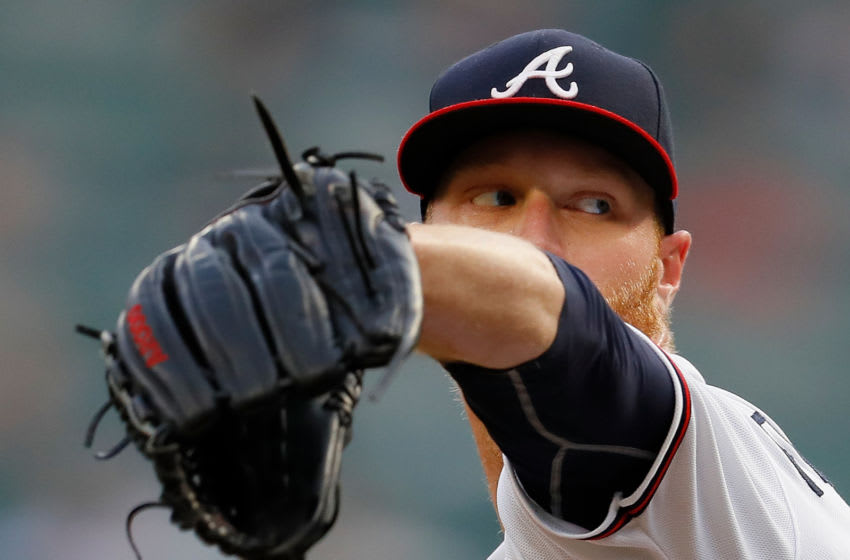 ATLANTA, GA - AUGUST 13: Mike Foltynewicz #26 of the Atlanta Braves pitches in the first inning against the Miami Marlins during game two of a doubleheader at SunTrust Park on August 13, 2018 in Atlanta, Georgia. (Photo by Kevin C. Cox/Getty Images)