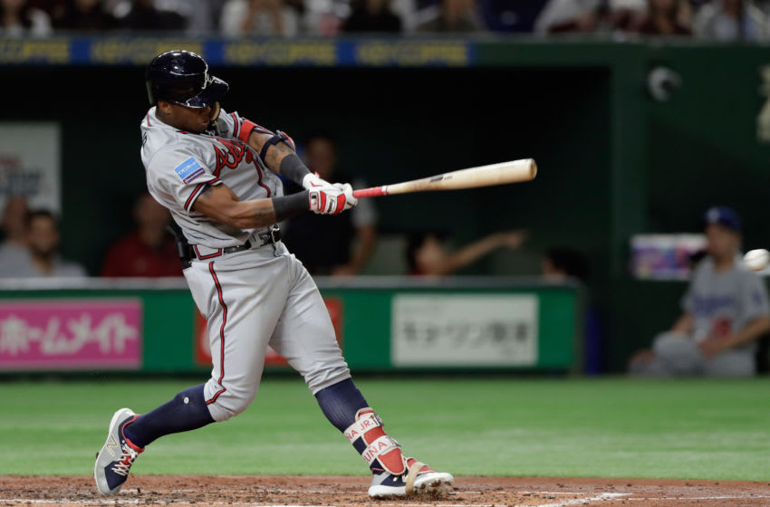 TOKYO, JAPAN - NOVEMBER 11: Outfielder Ronald Acuna Jr. #13 of the Atlanta Braves hits a single in the top of 4th inning during the game three of Japan and MLB All Stars at Tokyo Dome on November 11, 2018 in Tokyo, Japan. (Photo by Kiyoshi Ota/Getty Images)