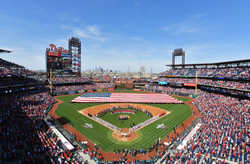PHILADELPHIA, PA - MARCH 28: A general view of Citizens Bank Park during the national anthem before the game between the Philadelphia Phillies and the Atlanta Braves on Opening Day at Citizens Bank Park on March 28, 2019 in Philadelphia, Pennsylvania. (Photo by Drew Hallowell/Getty Images)