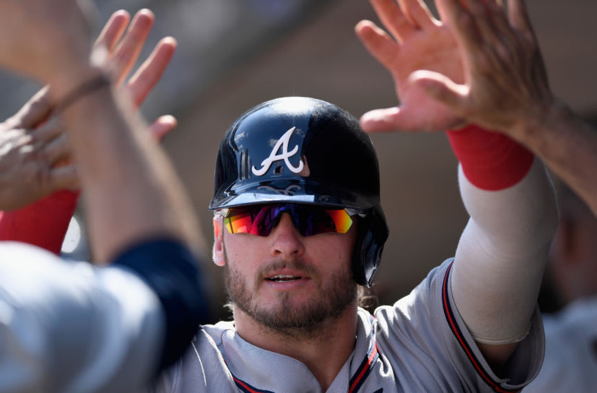 MINNEAPOLIS, MN - AUGUST 07: Josh Donaldson #20 of the Atlanta Braves celebrates scorn a run against the Minnesota Twins during the ninth inning of the interleague game on August 7, 2019 at Target Field in Minneapolis, Minnesota. The Braves defeated the Twins 11-7. (Photo by Hannah Foslien/Getty Images)