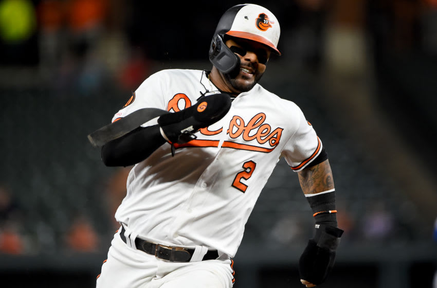 BALTIMORE, MD - SEPTEMBER 18: Jonathan Villar #2 of the Baltimore Orioles rounds third base to score during the second inning against the Toronto Blue Jays at Oriole Park at Camden Yards on September 18, 2019 in Baltimore, Maryland. (Photo by Will Newton/Getty Images)