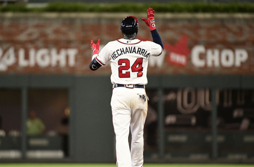 ATLANTA, GEORGIA - AUGUST 22: Adeiny Hechavarria #24 of the Atlanta Braves celebrates a double against the Miami Marlins at SunTrust Park on August 22, 2019 in Atlanta, Georgia. (Photo by Logan Riely/Getty Images)