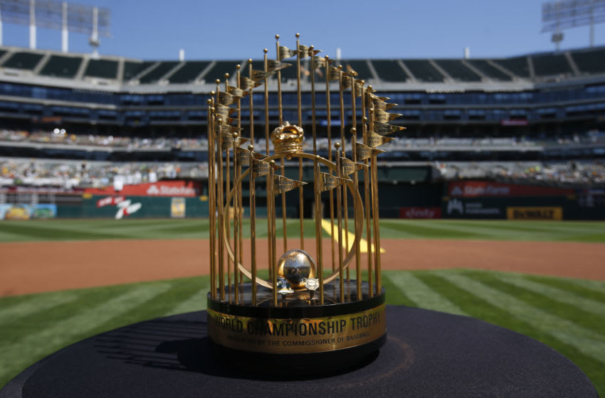OAKLAND, CA - AUGUST 25: The 1989 World Series trophy is displayed on the field during a pregame ceremony honoring the Oakland Athletics 1989 World Series Championship team prior to the game between the Athletics and the San Francisco Giants at the Oakland-Alameda County Coliseum on August 25, 2019 in Oakland, California. The Giants defeated the Athletics 5-4. (Photo by Michael Zagaris/Oakland Athletics/Getty Images)