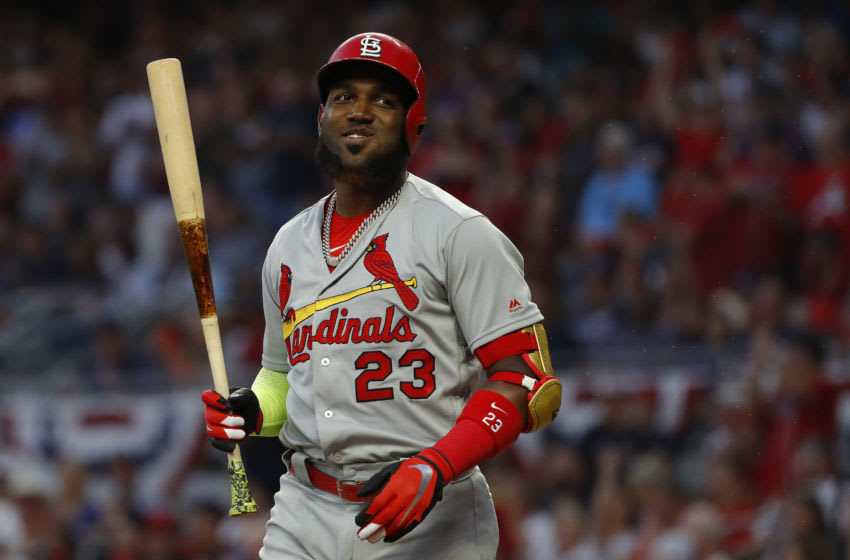 ATLANTA, GEORGIA - OCTOBER 04: Marcell Ozuna #23 of the St. Louis Cardinals reacts during an at-bat in game two of the National League Division Series against the Atlanta Braves at SunTrust Park on October 04, 2019 in Atlanta, Georgia. (Photo by Kevin C. Cox/Getty Images)