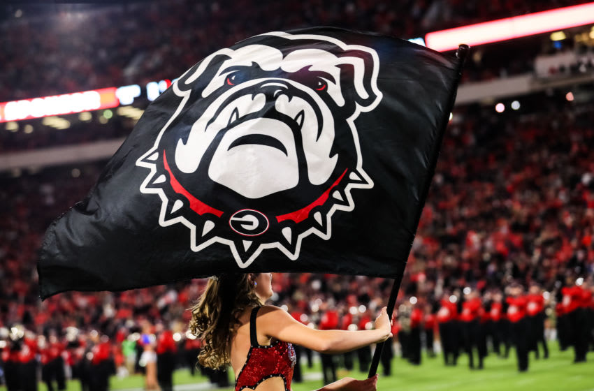 ATHENS, GA - NOVEMBER 09: A Georgia Bulldogs flag is seen during a game against the Missouri Tigers at Sanford Stadium on November 9, 2019 in Athens, Georgia. (Photo by Carmen Mandato/Getty Images)