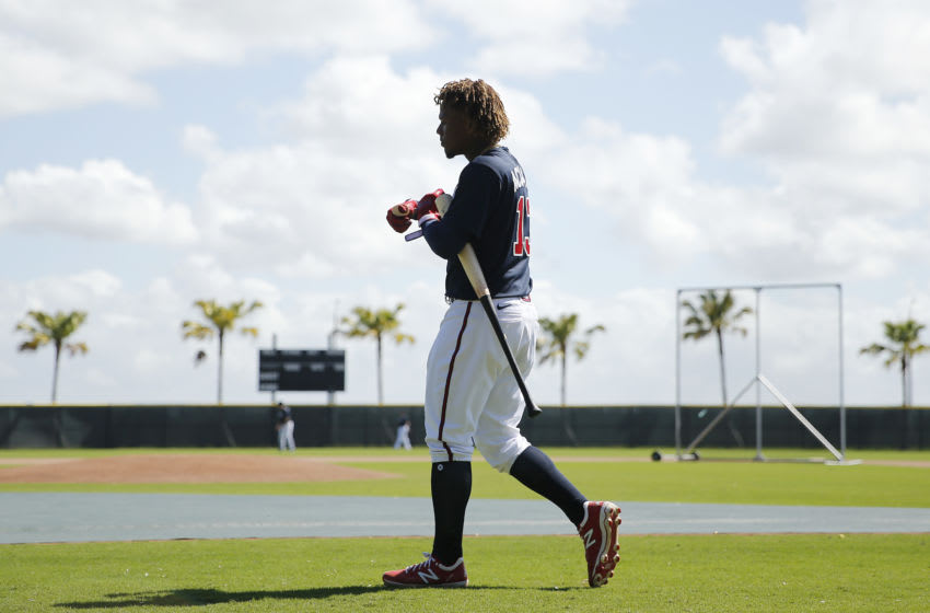 SARASOTA, FLORIDA - FEBRUARY 20: Ronald Acuna Jr. #13 of the Atlanta Braves walks to take batting practice during a team workout at CoolToday Park on February 20, 2020 in Venice, Florida. (Photo by Michael Reaves/Getty Images)