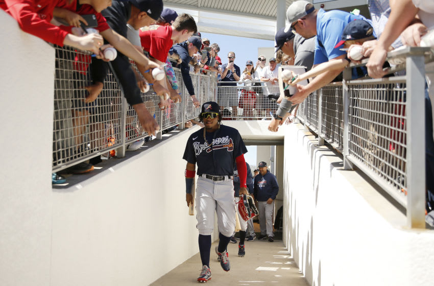FORT MYERS, FLORIDA - MARCH 01: Ronald Acuna Jr. #13 of the Atlanta Braves walks to the field prior to a Grapefruit League spring training game against the Boston Red Sox at JetBlue Park at Fenway South on March 01, 2020 in Fort Myers, Florida. (Photo by Michael Reaves/Getty Images)