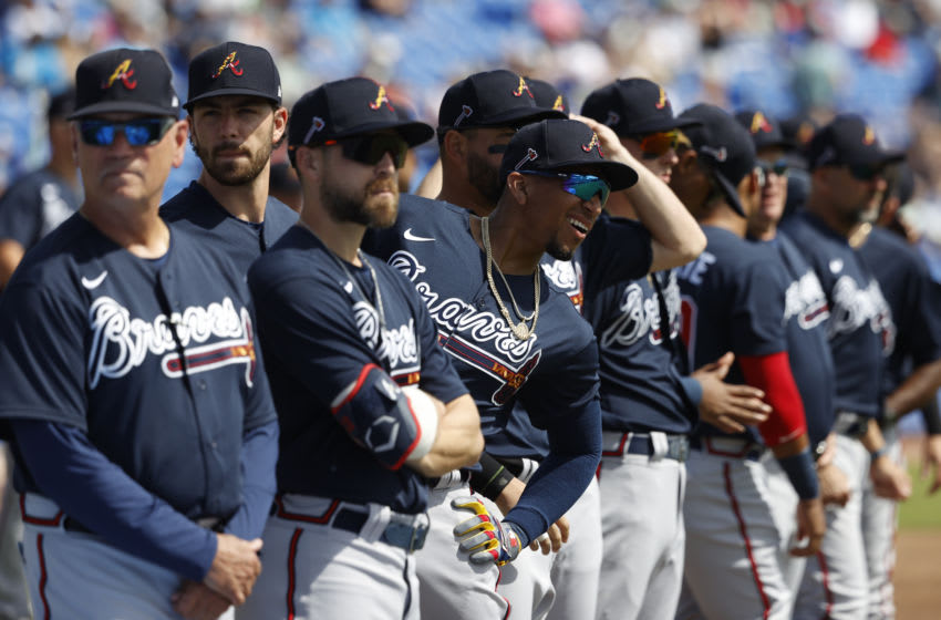 DUNEDIN, FL - FEBRUARY 24: Atlanta Braves players line up prior to a Grapefruit League spring training game against the Toronto Blue Jays at TD Ballpark on February 24, 2020 in Dunedin, Florida. The Blue Jays defeated the Braves 4-3. (Photo by Joe Robbins/Getty Images)