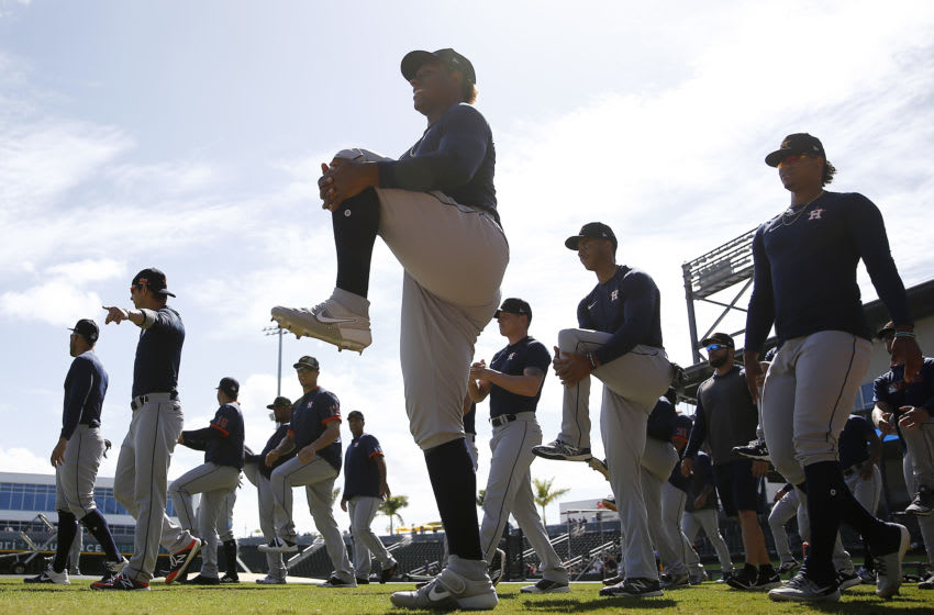 NORTH PORT, FLORIDA - MARCH 10: The Houston Astros warm up prior to a Grapefruit League spring training game against the Atlanta Braves at CoolToday Park on March 10, 2020 in North Port, Florida. (Photo by Michael Reaves/Getty Images)