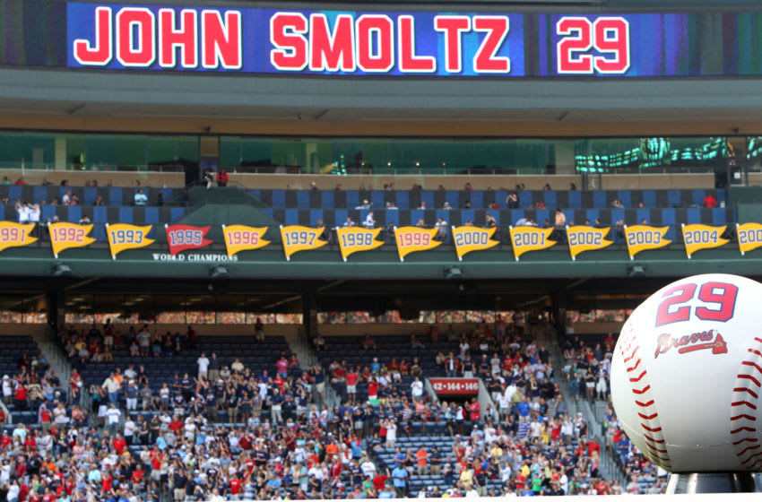ATLANTA, GA - JUNE 08: General view of John Smoltz's #29 and all of the pennants he won with the Atlanta Braves during his number retirement ceremony before the game between the Atlanta Braves and the Toronto Blue Jays at Turner Field on June 8, 2012 in Atlanta, Georgia. (Photo by Mike Zarrilli/Getty Images)