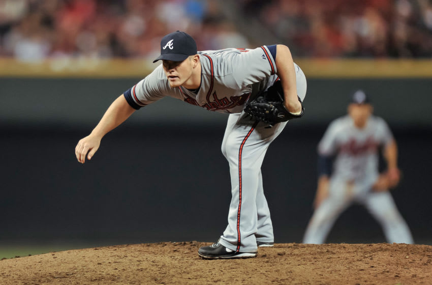 CINCINNATI, OH - MAY 7: Craig Kimbrel #46 of the Atlanta Braves pitches against the Cincinnati Reds at Great American Ball Park on May 7, 2013 in Cincinnati, Ohio. (Photo by Jamie Sabau/Getty Images)