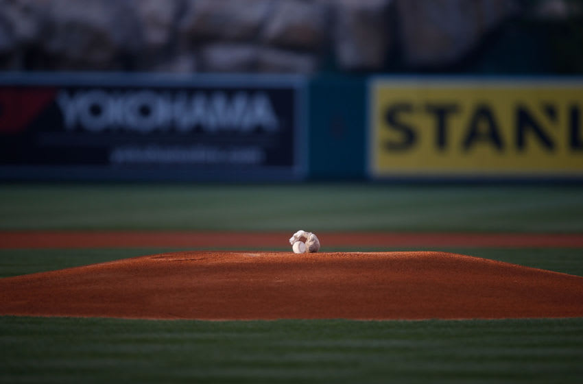 ANAHEIM, CA - MAY 30: A baseball sits on the pitching mound prior to the game between the Detroit Tigers and the Los Angeles Angels at Angel Stadium of Anaheim on May 30, 2015 in Anaheim, California. (Photo by Joe Scarnici/Getty Images)