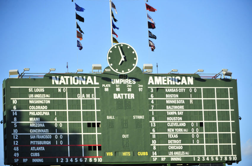 CHICAGO, IL - AUGUST 20: A general view of the scoreboard before the game between the Chicago Cubs and the Atlanta Braves on August 20, 2015 at Wrigley Field in Chicago, Illinois. The Cubs won 7-1. (Photo by David Banks/Getty Images)