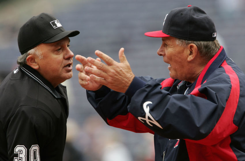 ATLANTA - APRIL 13: Manager Bobby Cox #6 of the Atlanta Braves argues with home plate umpire Randy Marsh at Turner Field on April 13, 2005 in Atlanta, Georgia. Cox was ejected from the game. (Photo by Doug Pensinger/Getty Images)