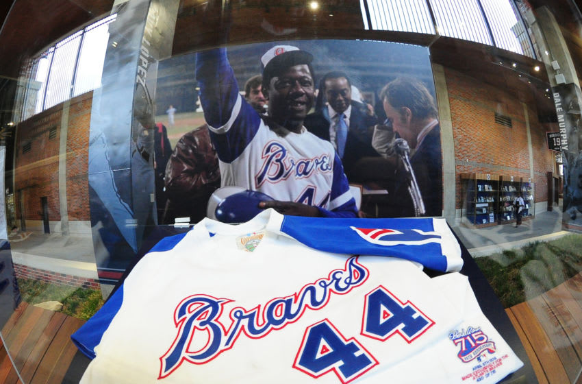 ATLANTA, GA - MARCH 31: A jersey recognizing career home run 715 of Hank Aaron is shown in the Monument Grove area of SunTrust Park before the game between the Atlanta Braves and the New York Yankees on March 31, 2017 in Atlanta, Georgia. (Photo by Scott Cunningham/Getty Images)